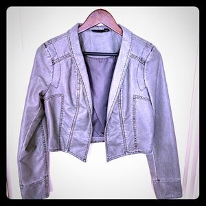 Grey Leather-like Cropped Jacket